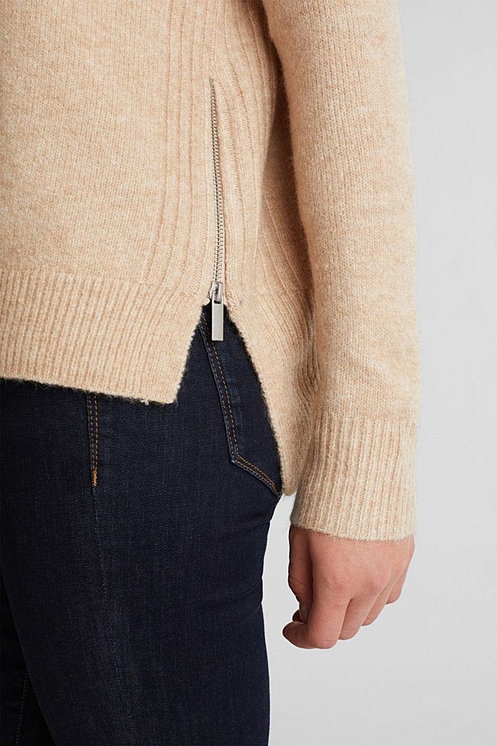 Mit Wolle: Pullover mit Zipper-Details, CAMEL, detail image number 2