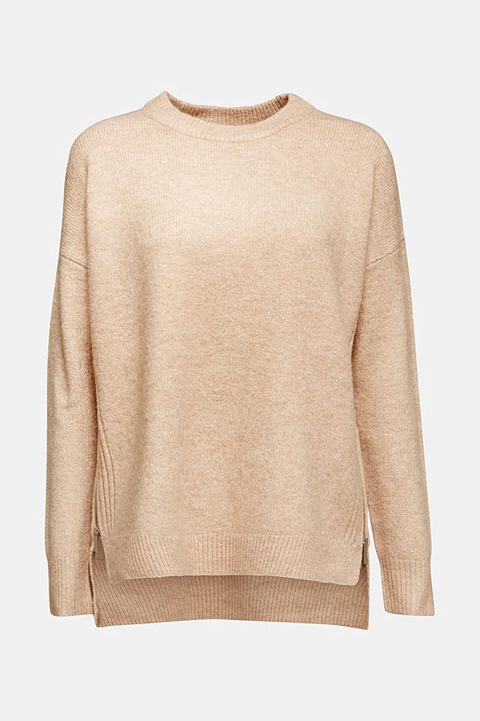 Mit Wolle: Pullover mit Zipper-Details, CAMEL, detail image number 5