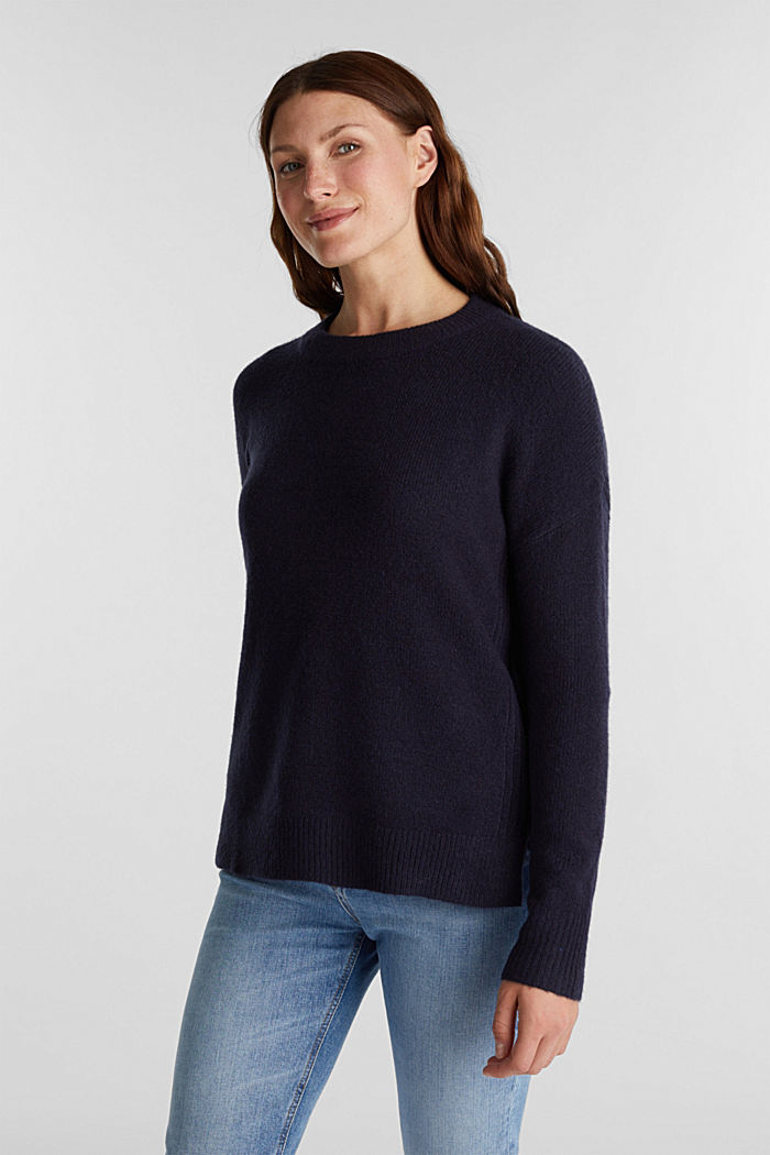 Wool blend: Jumper with zip details, NAVY, detail image number 0