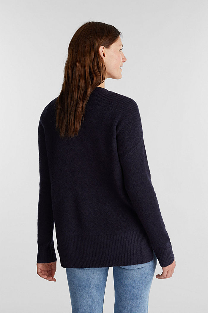 Wool blend: Jumper with zip details, NAVY, detail image number 3