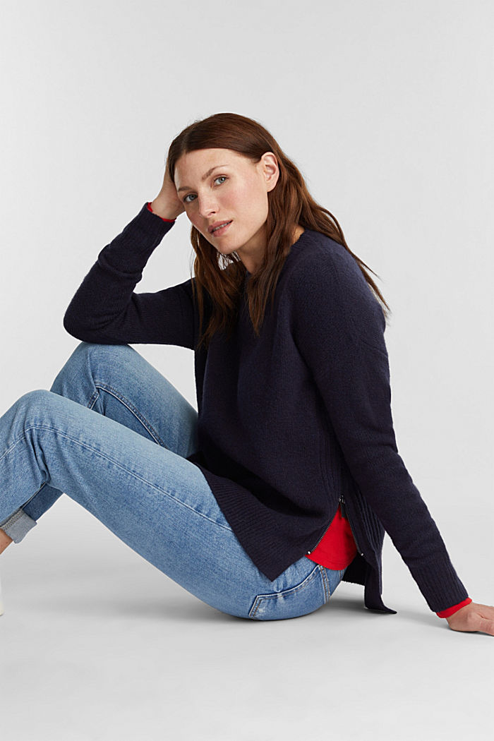 Wool blend: Jumper with zip details