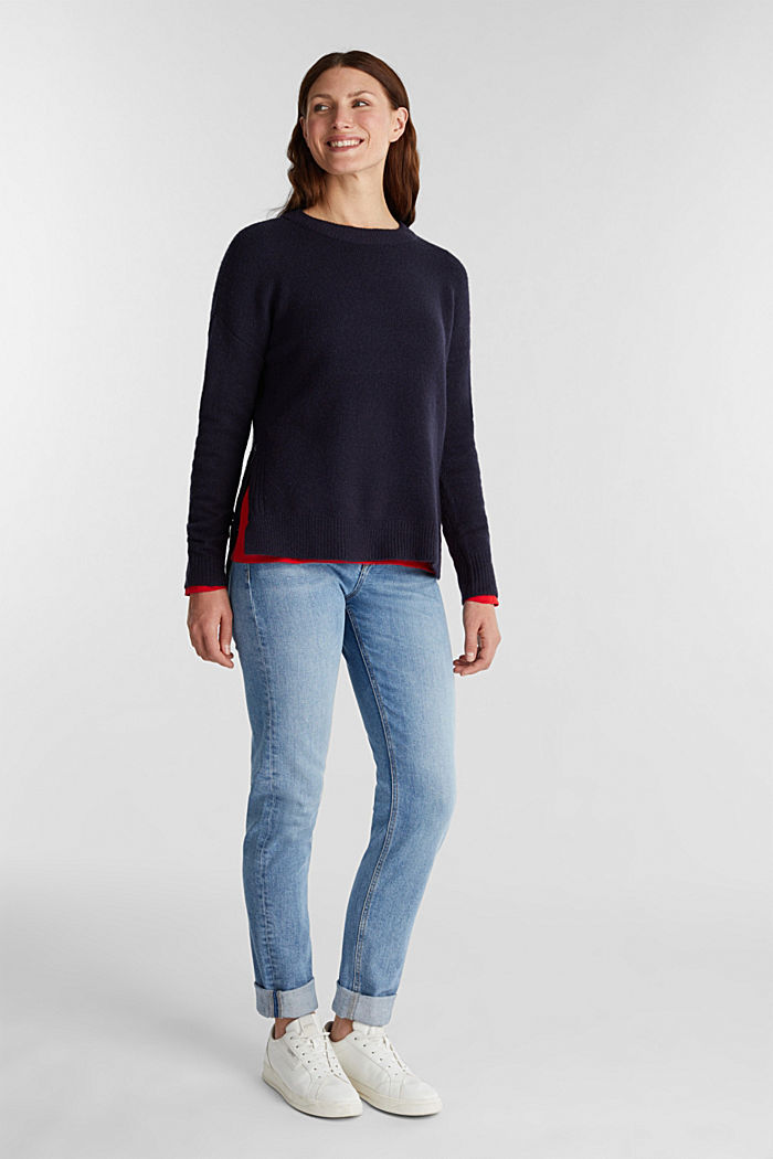Wool blend: Jumper with zip details, NAVY, detail image number 1
