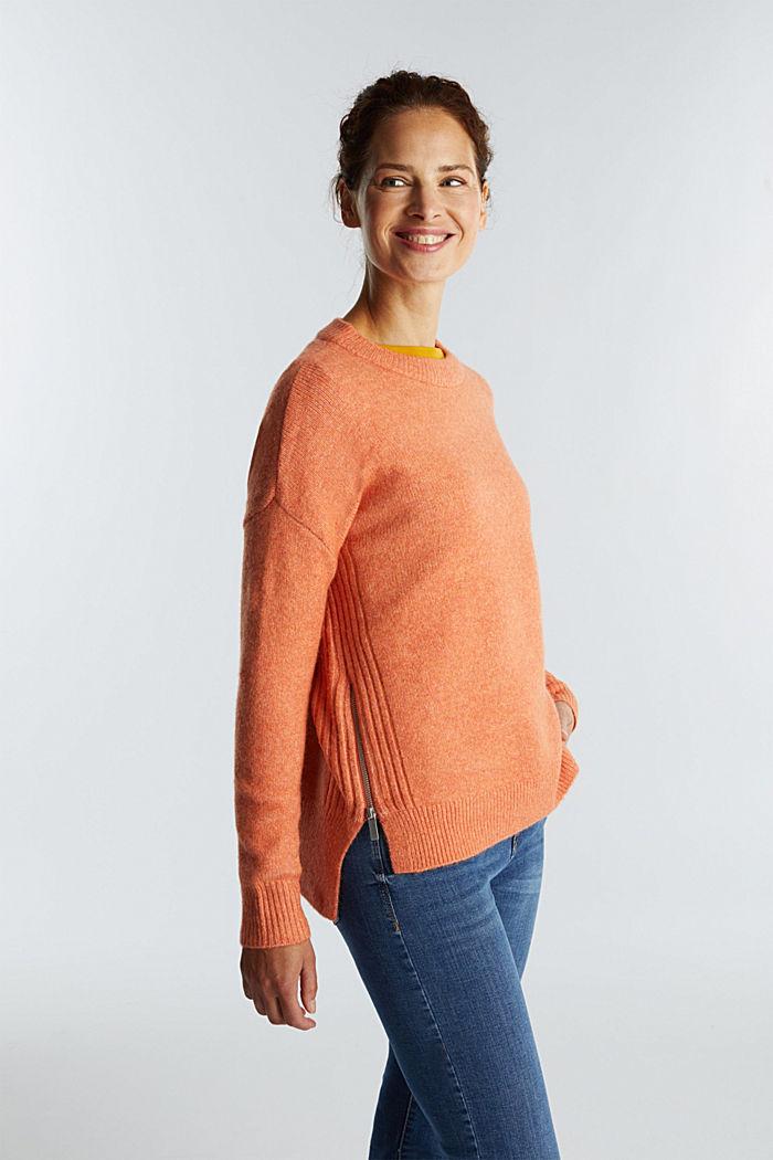 Wool blend: Jumper with zip details, BURNT ORANGE, detail image number 0