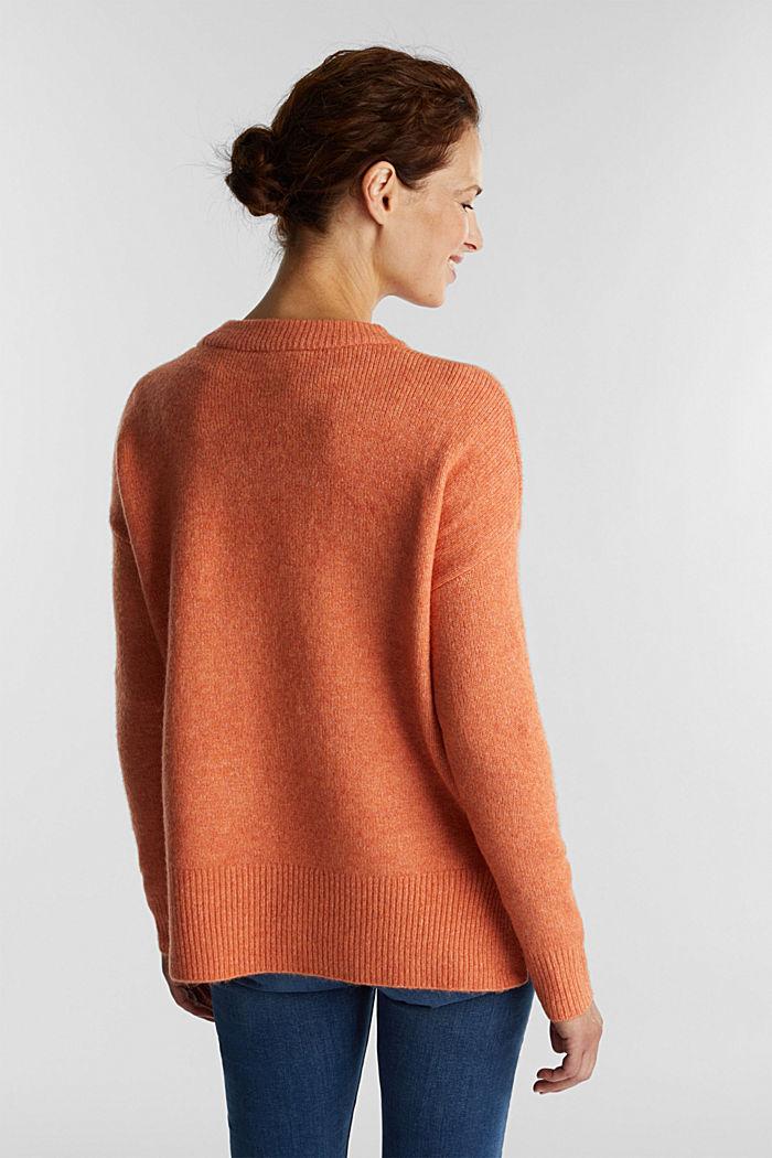 Wool blend: Jumper with zip details, BURNT ORANGE, detail image number 3