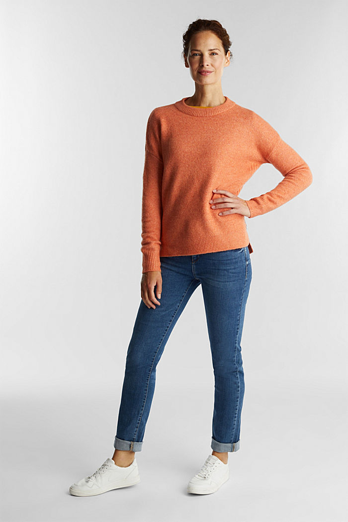 Wool blend: Jumper with zip details, BURNT ORANGE, detail image number 1