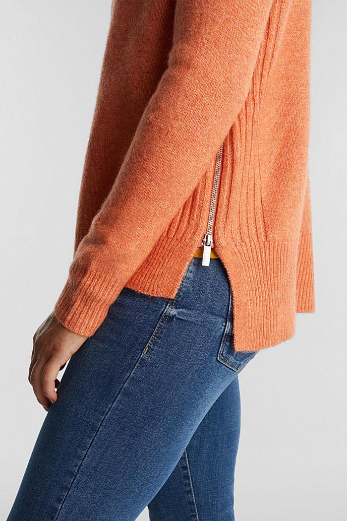 Wool blend: Jumper with zip details, BURNT ORANGE, detail image number 2