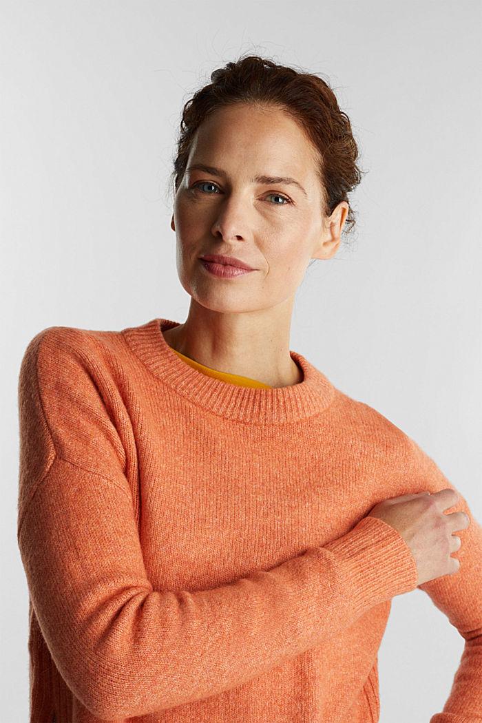 Wool blend: Jumper with zip details, BURNT ORANGE, detail image number 5