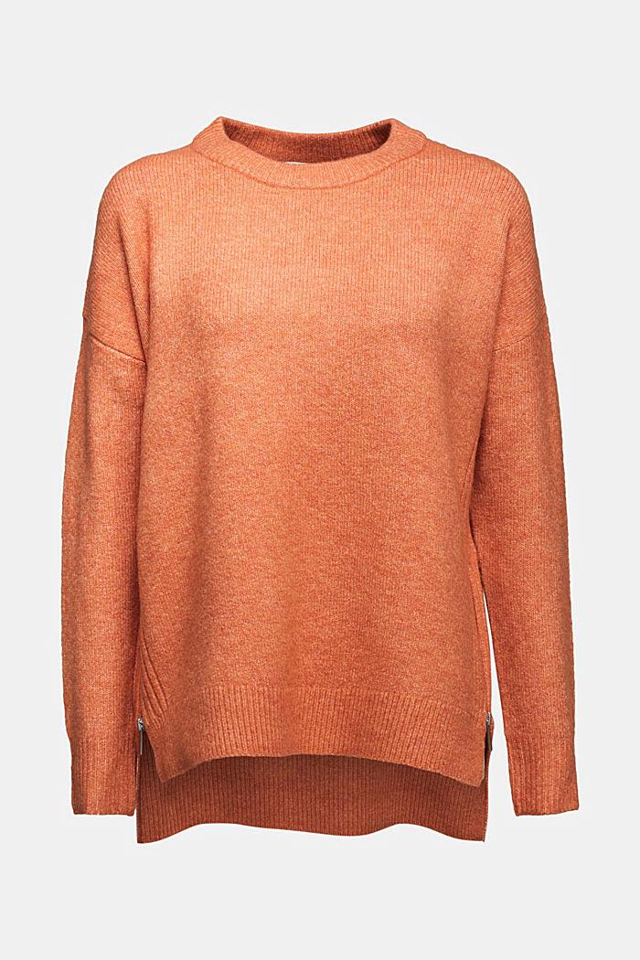 Wool blend: Jumper with zip details, BURNT ORANGE, detail image number 6