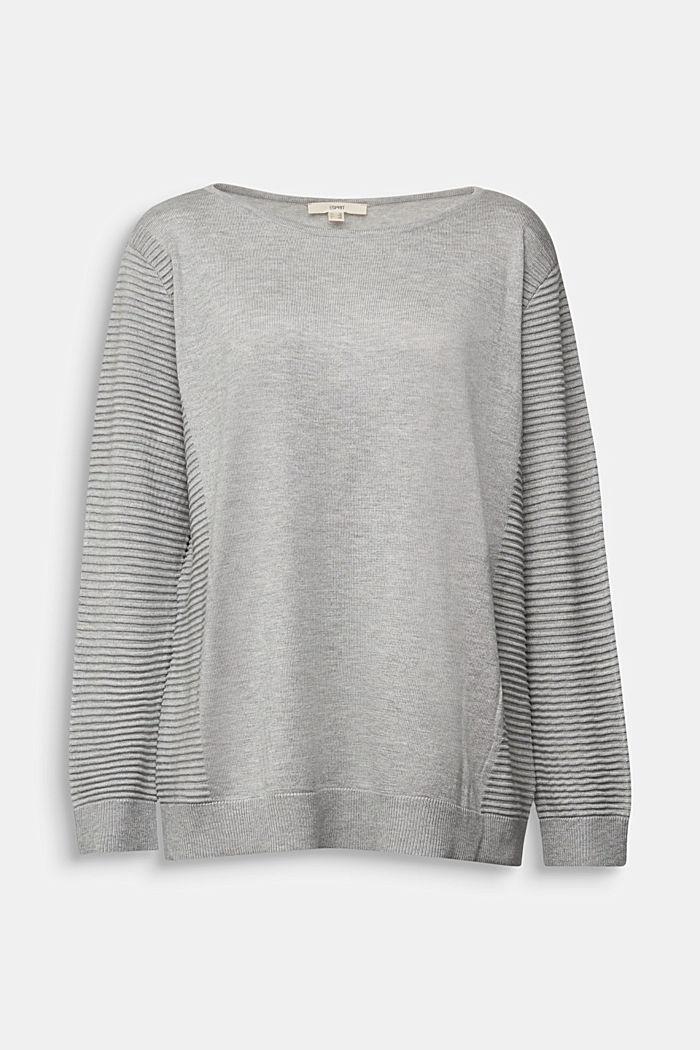 Striped wool blend jumper, LIGHT GREY, detail image number 0