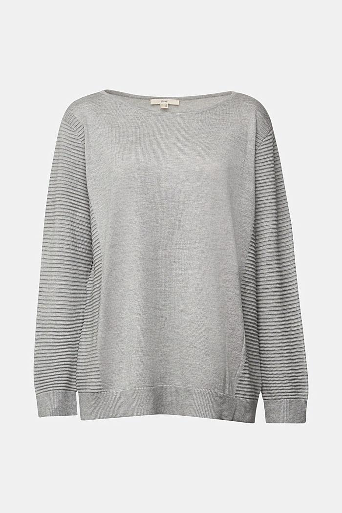 Striped wool blend jumper, LIGHT GREY, detail image number 1