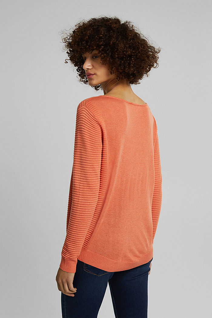 Striped wool blend jumper, BURNT ORANGE, detail image number 3