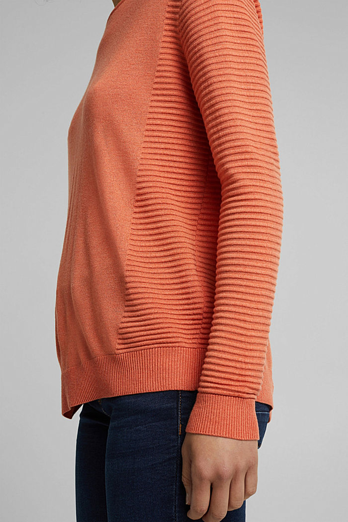 Striped wool blend jumper, BURNT ORANGE, detail image number 5