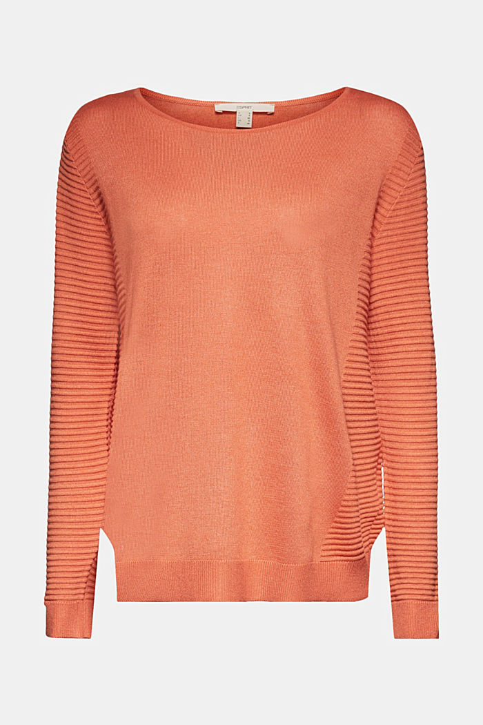 Striped wool blend jumper, BURNT ORANGE, detail image number 7