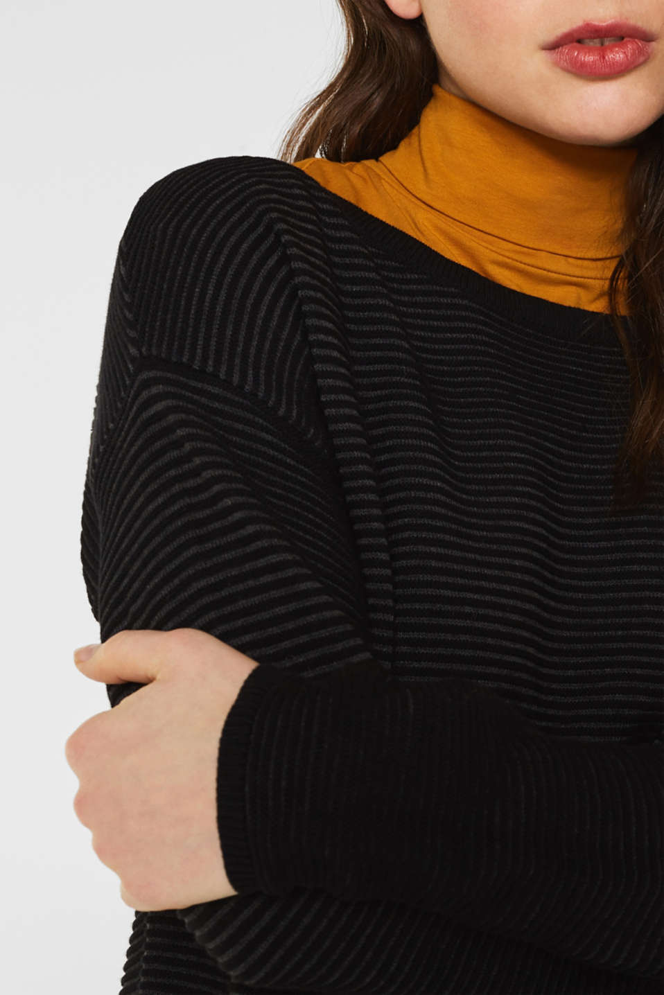 Ribbed-Jumper made of 100% cotton, BLACK 2, detail image number 2