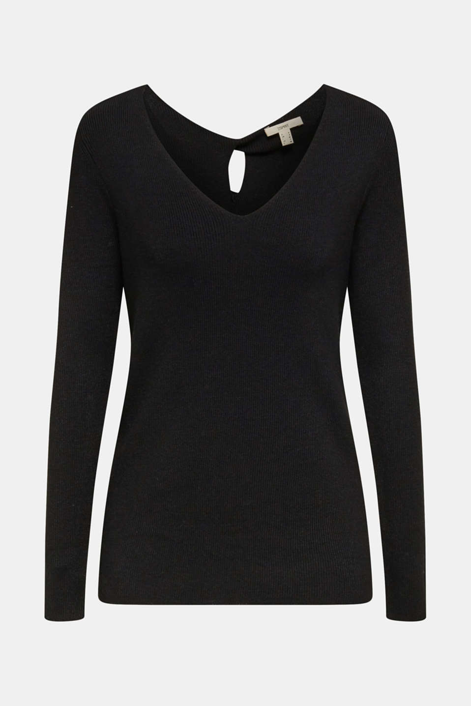 Jumper with a draped detail, recycled, BLACK, detail image number 7