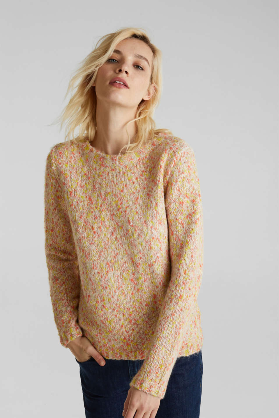 Wool blend: jumper with a dimpled texture, BEIGE, detail image number 0