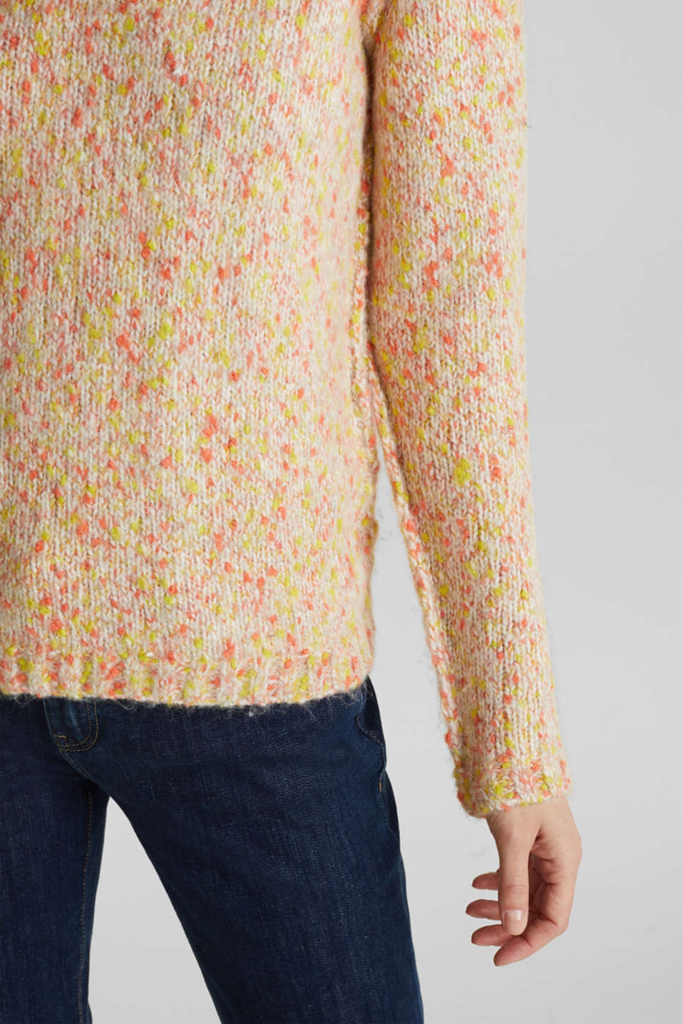 Wool blend: jumper with a dimpled texture, BEIGE, detail image number 5