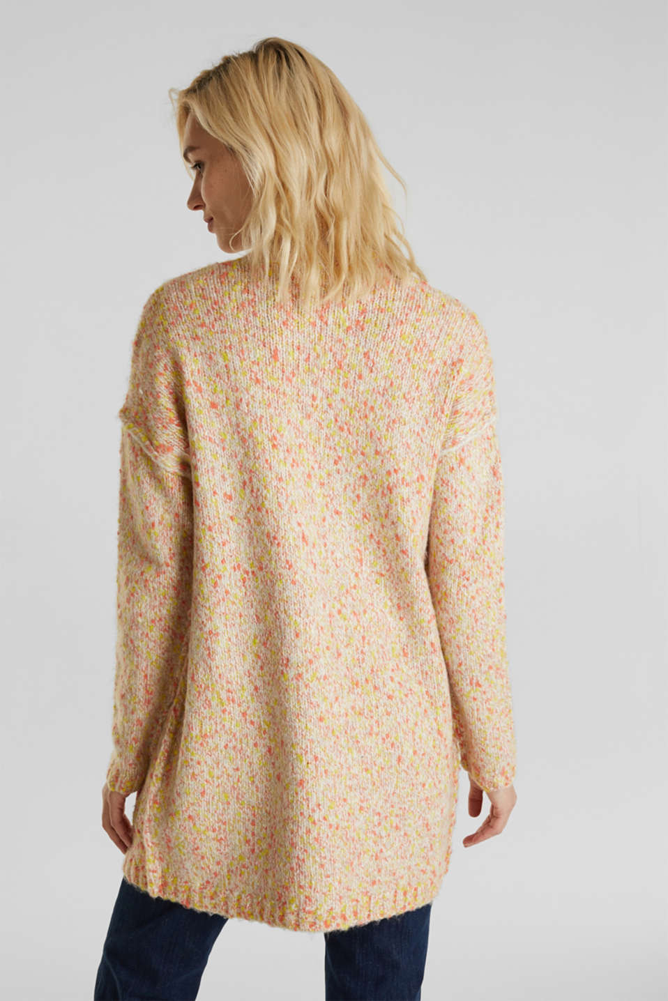 Wool blend: Cardigan with a dimpled texture, BEIGE, detail image number 2