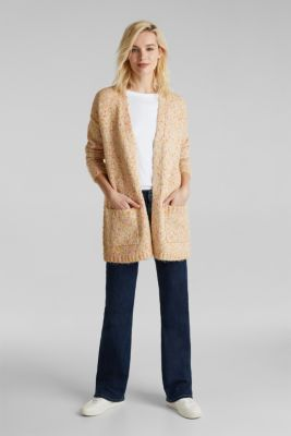 Wool blend: Cardigan with a dimpled texture, BEIGE, detail