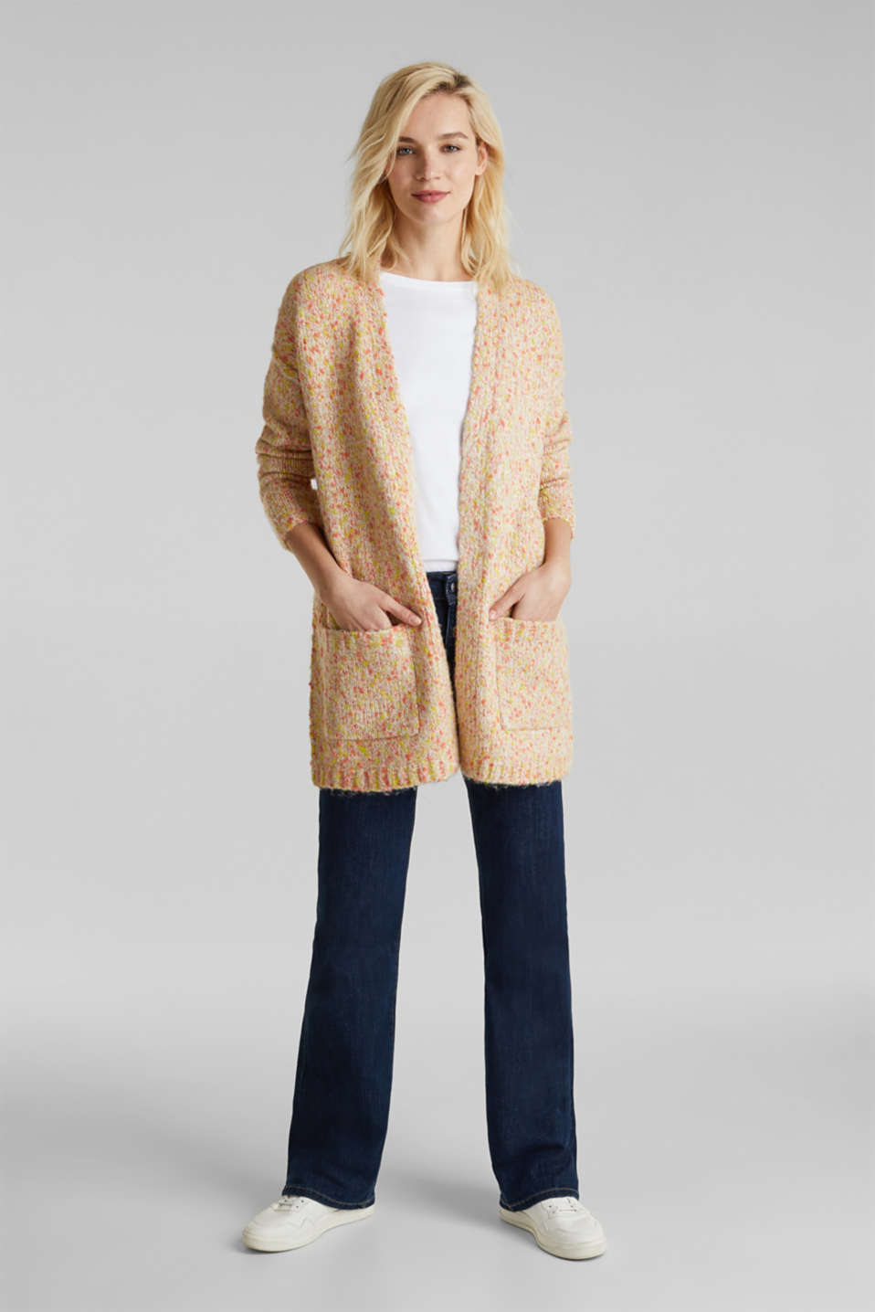 Wool blend: Cardigan with a dimpled texture, BEIGE, detail image number 1