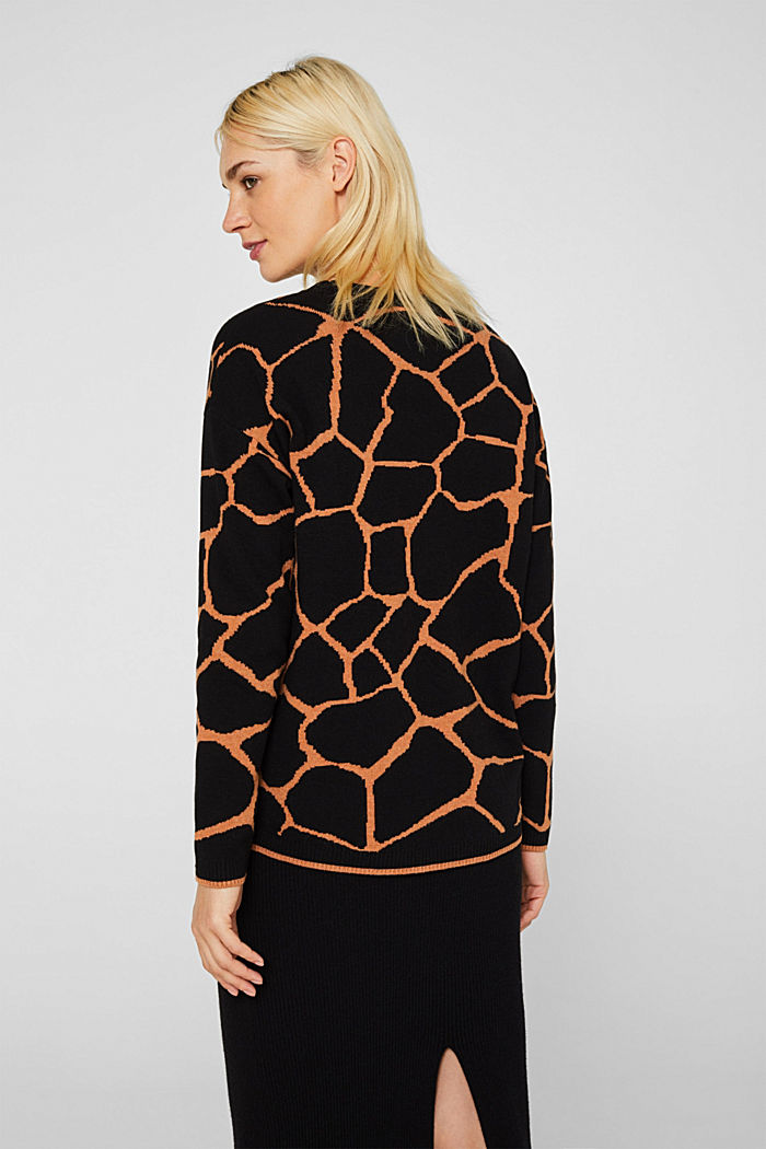 Double-faced jumper with a jacquard pattern, BLACK, detail image number 3