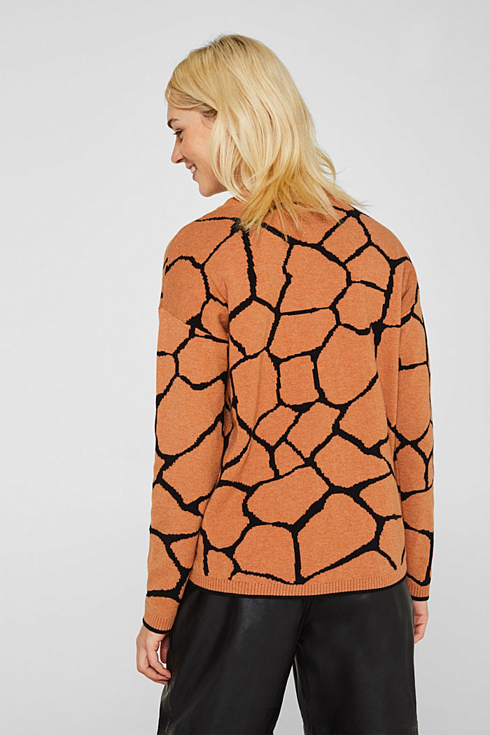 Double-faced jumper with a jacquard pattern, BURNT ORANGE, detail image number 3