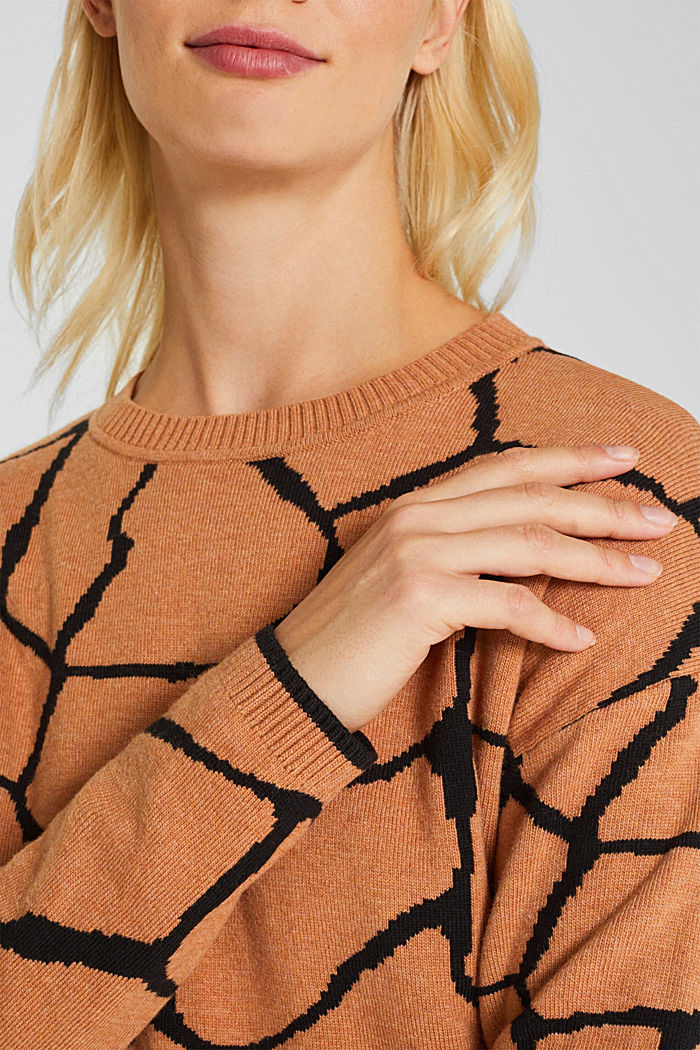 Double-faced jumper with a jacquard pattern, BURNT ORANGE, detail image number 2