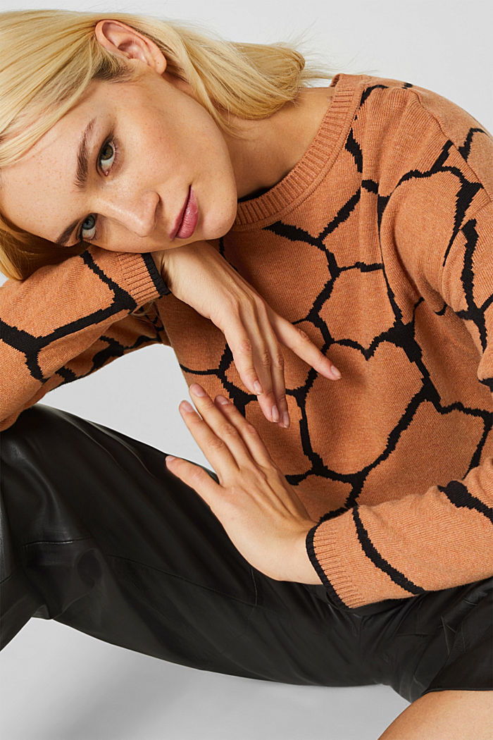 Double-faced jumper with a jacquard pattern, BURNT ORANGE, overview
