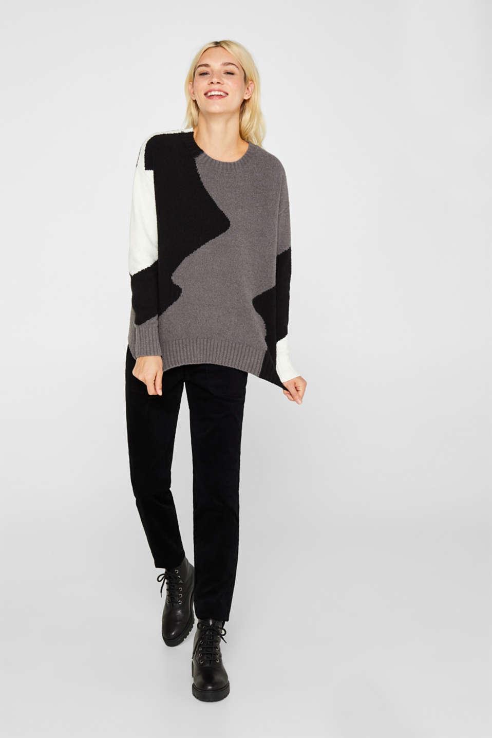 Colour block jumper made of bouclé, BLACK, detail image number 1