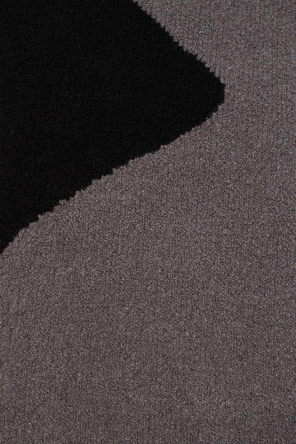 Colour block jumper made of bouclé, BLACK, detail image number 4
