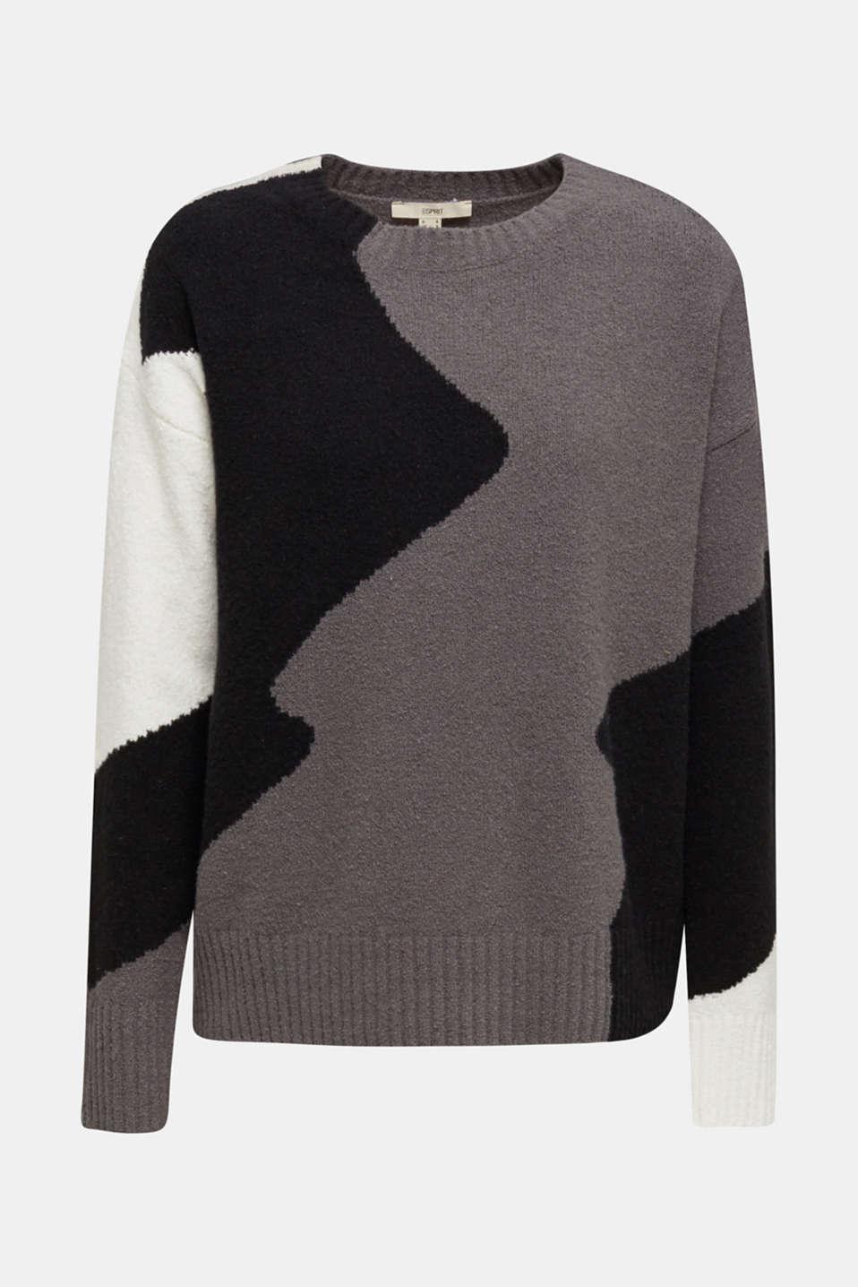 Colour block jumper made of bouclé, BLACK, detail image number 5