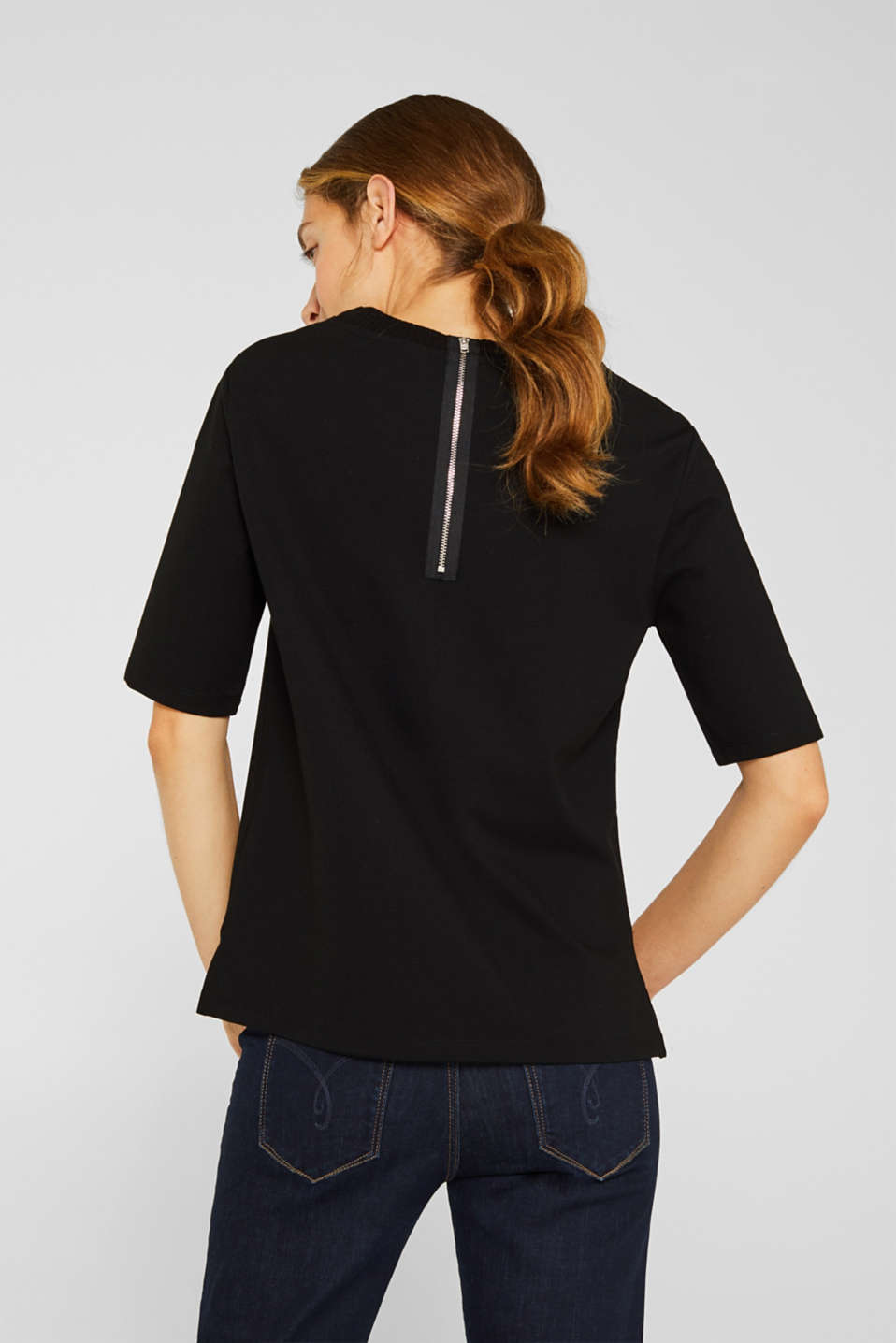 Short-sleeved sweatshirt with a ribbed trim, BLACK, detail image number 3