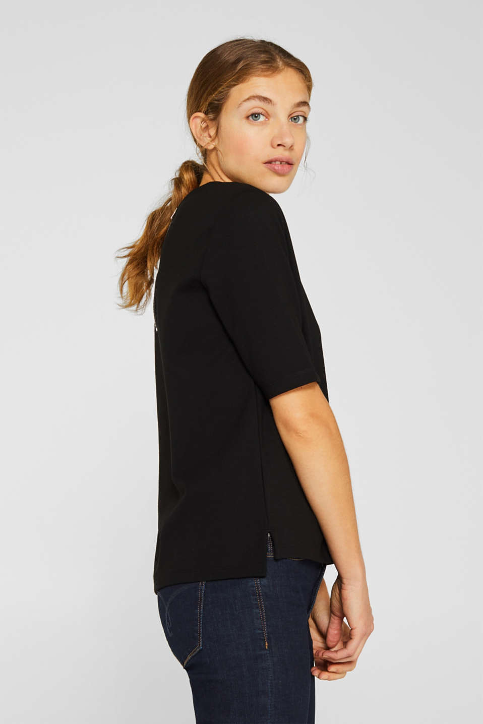 Short-sleeved sweatshirt with a ribbed trim, BLACK, detail image number 5