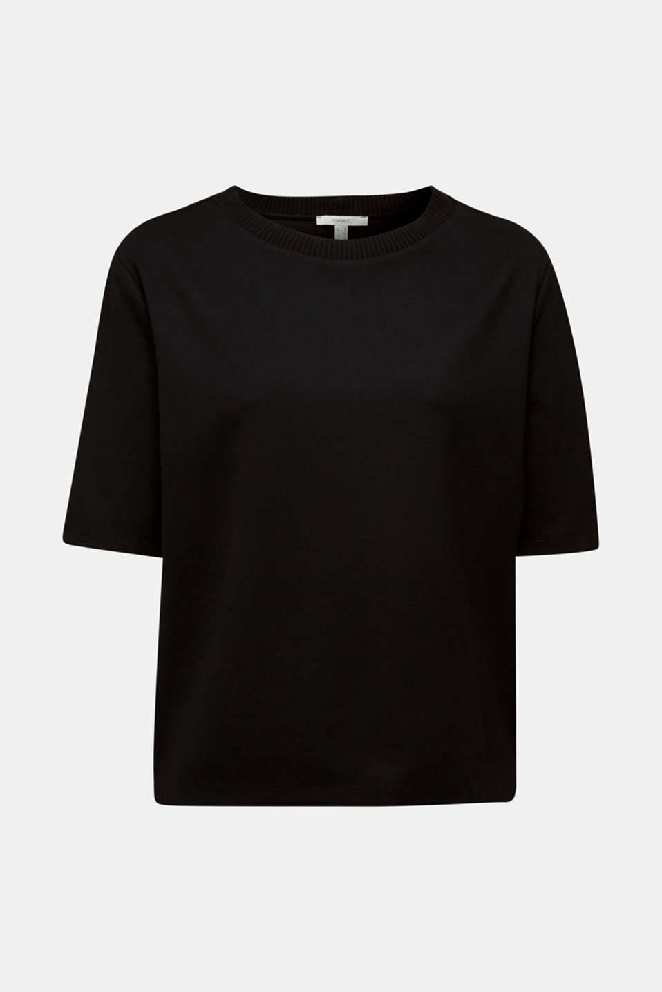 Short-sleeved sweatshirt with a ribbed trim, BLACK, detail image number 7