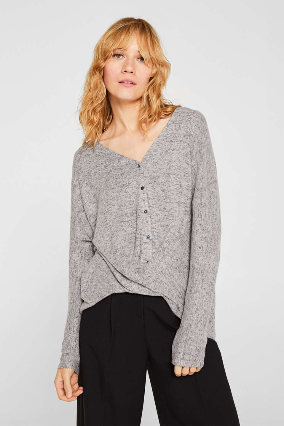 Fluffy long sleeve top with draped effect, DARK GREY, detail image number 0