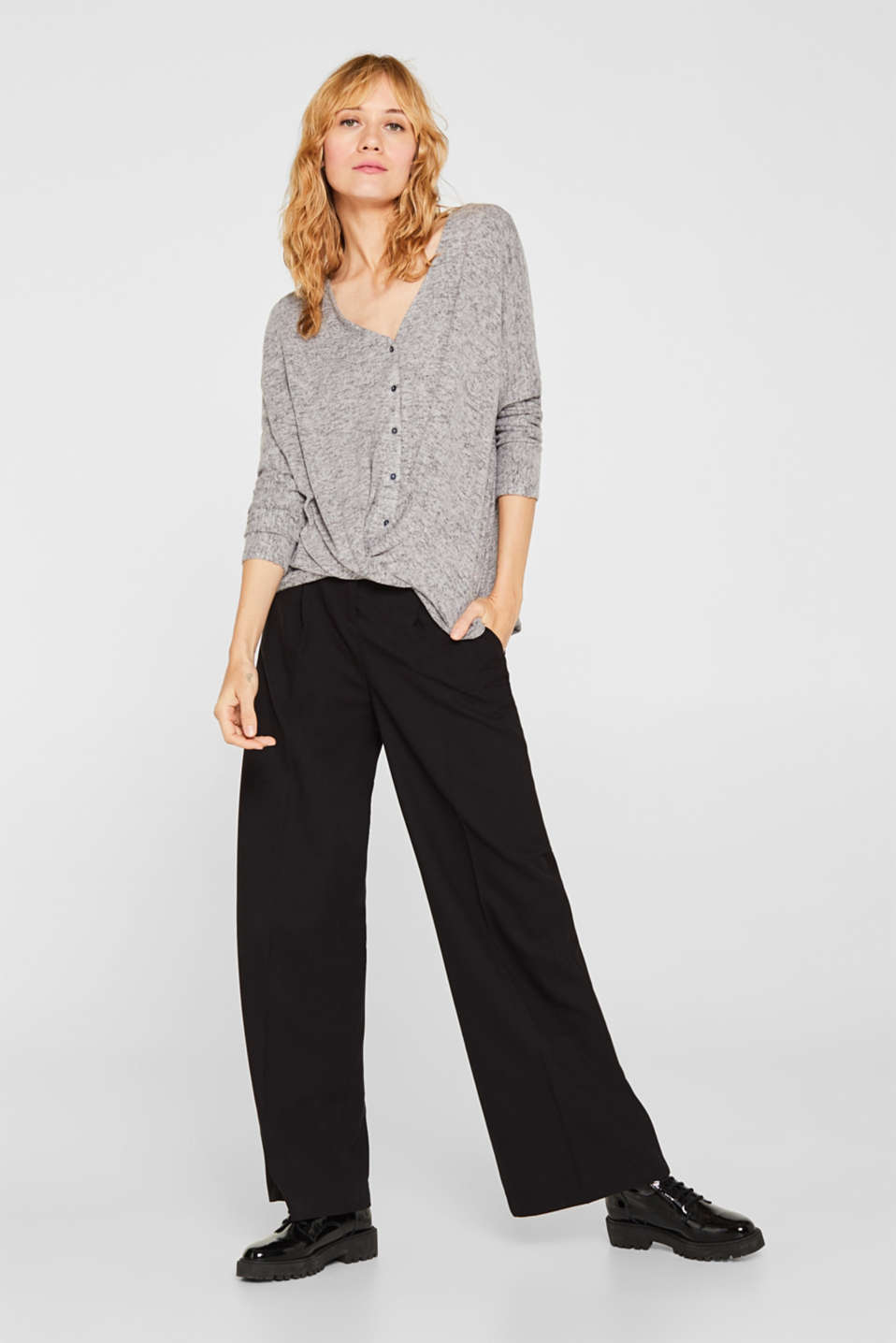 Fluffy long sleeve top with draped effect, DARK GREY, detail image number 1