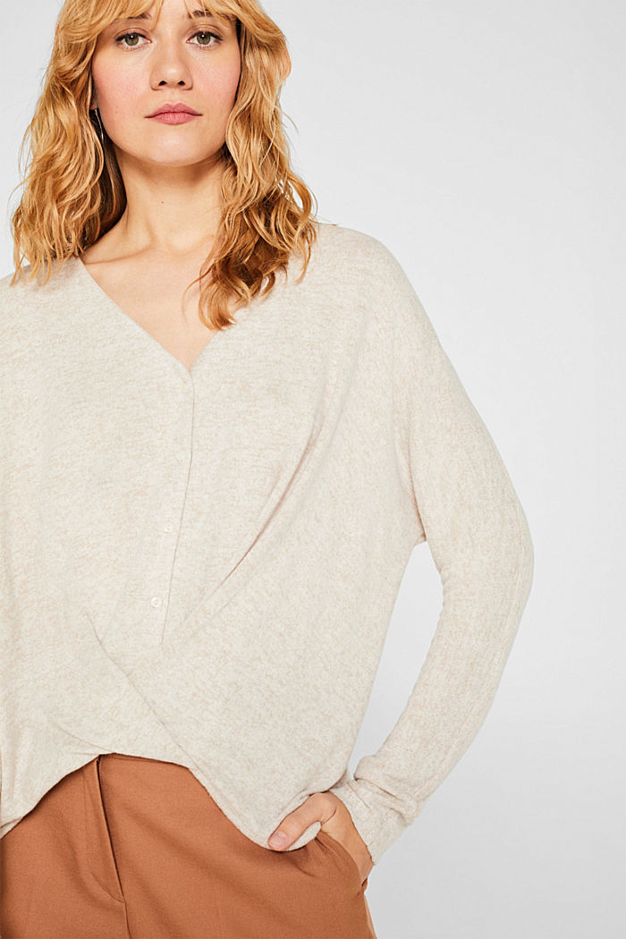 Fluffy long sleeve top with draped effect