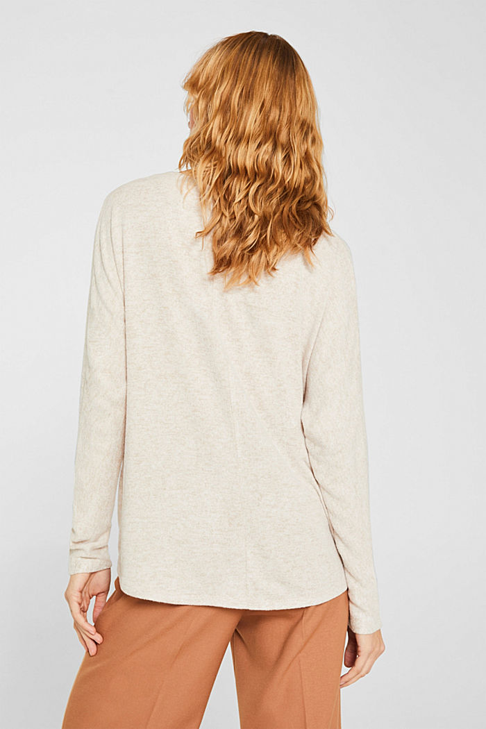 Fluffy long sleeve top with draped effect, BEIGE, detail image number 3