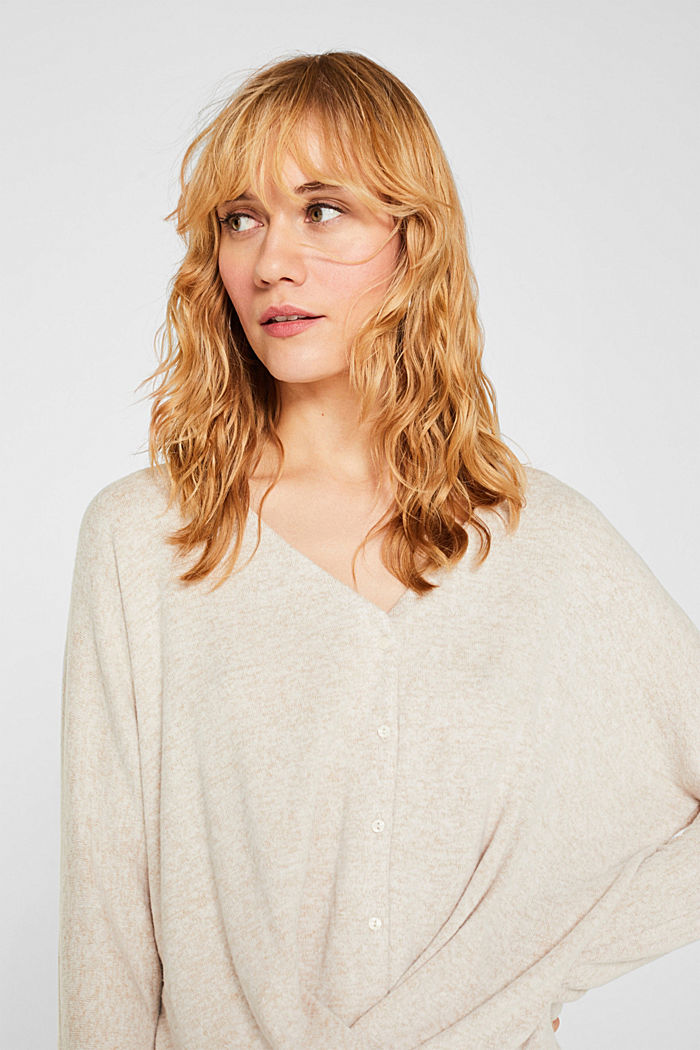 Fluffy long sleeve top with draped effect, BEIGE, detail image number 2