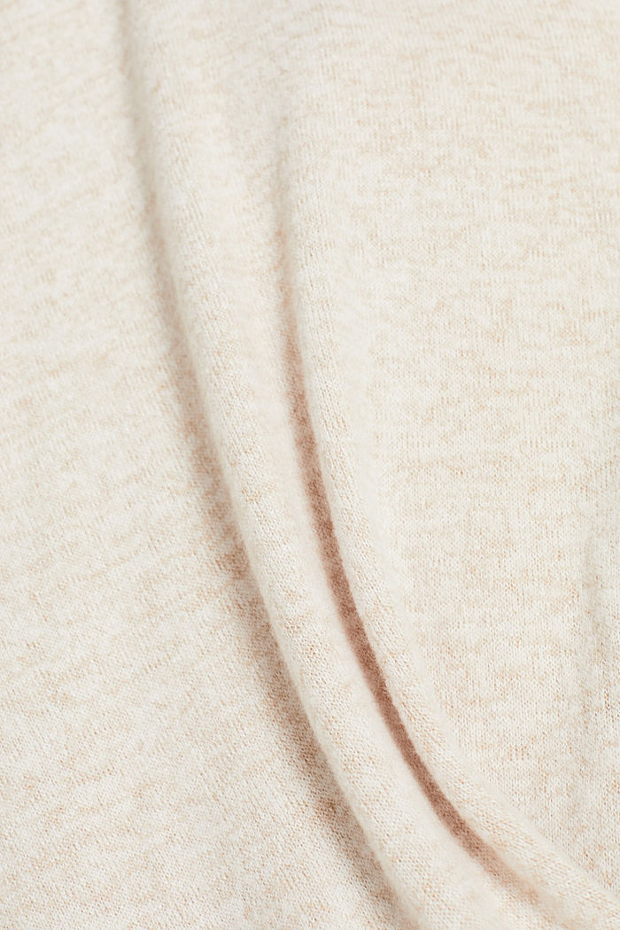 Fluffy long sleeve top with draped effect, BEIGE, detail image number 4