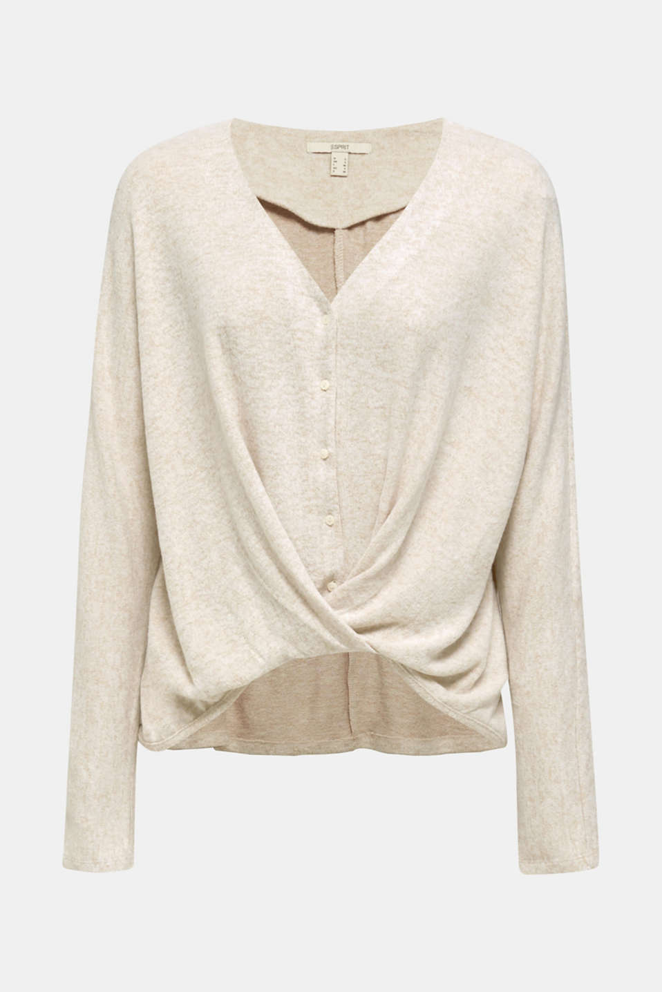 Fluffy long sleeve top with draped effect, BEIGE, detail image number 5