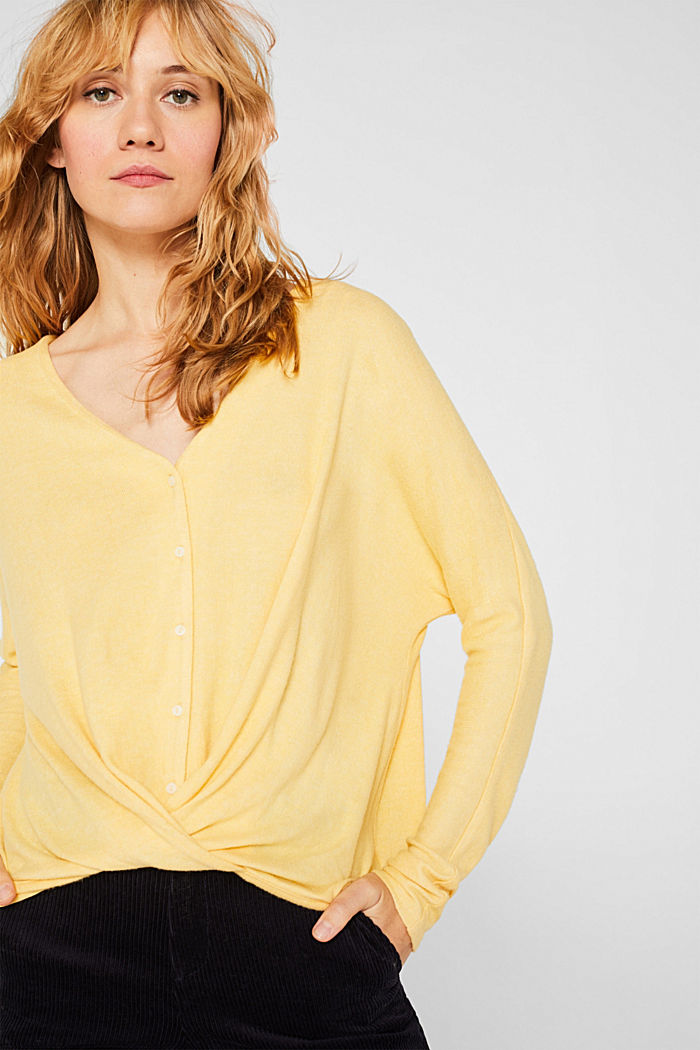 Fluffy long sleeve top with draped effect, DUSTY YELLOW, detail image number 0