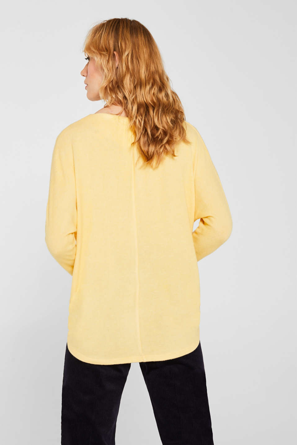 Fluffy long sleeve top with draped effect, DUSTY YELLOW, detail image number 3
