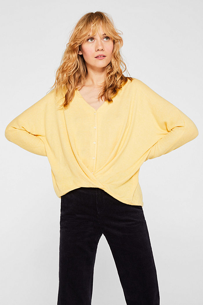 Fluffy long sleeve top with draped effect, DUSTY YELLOW, detail image number 5