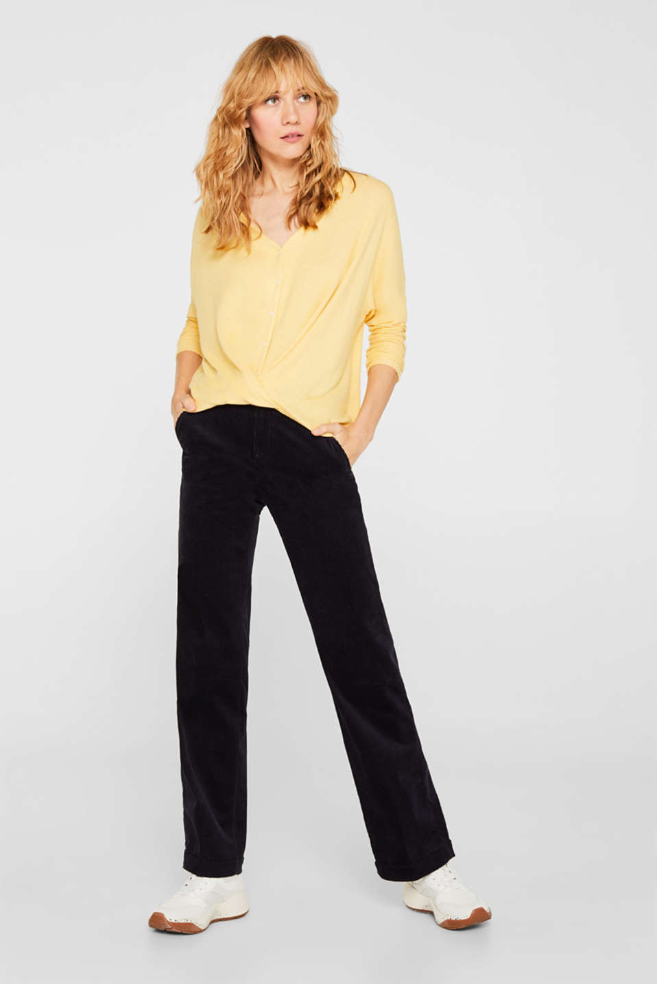 Fluffy long sleeve top with draped effect, DUSTY YELLOW, detail image number 1