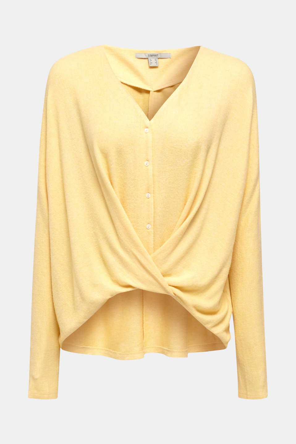 Fluffy long sleeve top with draped effect, DUSTY YELLOW, detail image number 6