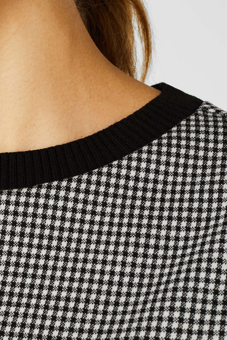 Short-sleeved sweatshirt with a ribbed trim, BLACK, detail image number 2