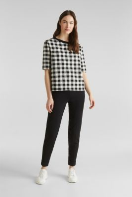 Textured top with stretch, BLACK, detail