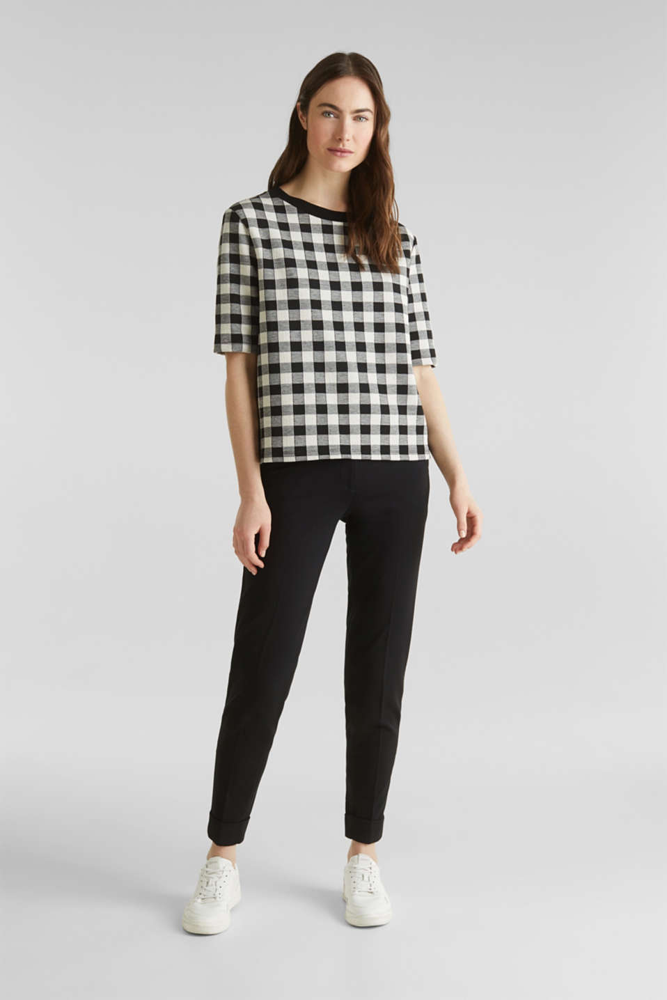 Textured top with stretch, BLACK, detail image number 1