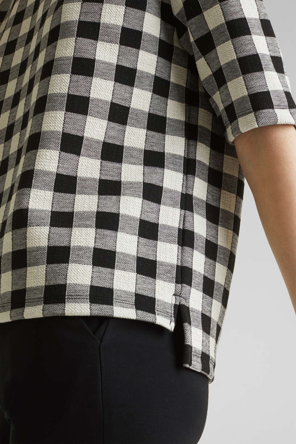 Textured top with stretch, BLACK, detail image number 3